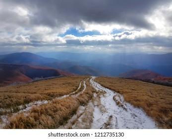 Way on Wielka Rawka ( Bieszczady Mountains ), East Karpaty