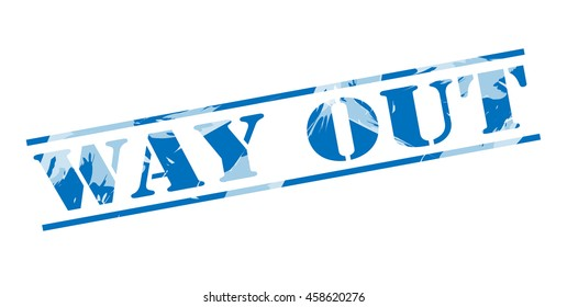 way out blue stamp on white background
