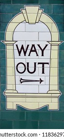 """Way out"" sign in the London Underground"