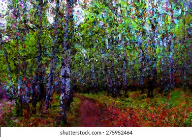 way in park forest, wood trees and spring color, impressionism oil paint drawing, watercolor painting or hand drawing, landscape beautiful spring warm bright, pastel and paint brush sketch, birch tree