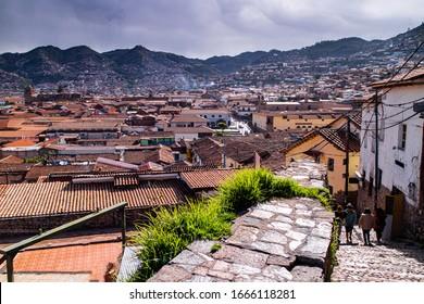 way to Saqsaywaman, View of San Blas town streets, Cusco, PERU