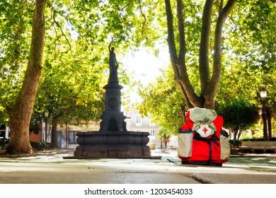 Way of st james , Azcarraga square in Coruna  , english way  to Compostela