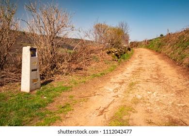 The Way of St. James between O cebreiro, linares, pardonelo, fonfria, fillobal, pasantes on the hilly road to Triacastela