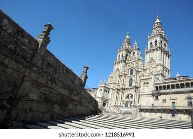 Way of St James , Camino de Santiago , pilgrims to Compostela Cathedral  ( Unesco Heritage ) ,Galicia, Spain