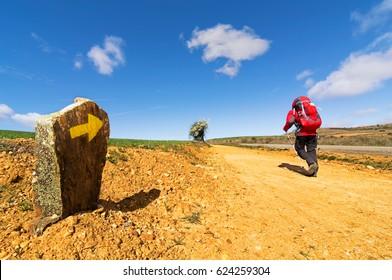 Way of St James , Camino de Santiago , Compostela , arriving at Astorga ,Spain