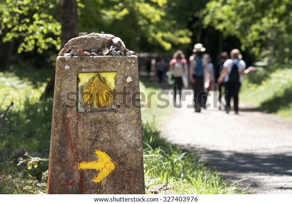Way of St James , Camino de Santiago ,  sign shells  marks for pilgrims to Compostela Cathedral ,Galicia, Spain