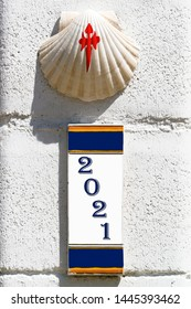 way of st james to Compostela , pilgrim scallop shell and 2021 Xacobeo year