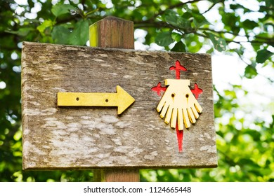 way of St James  scallop and yellow arrow signs , to Compostela , Galicia, Spain