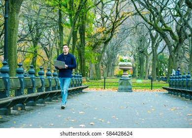 Way to Success. Man wearing blue sweatshirt, fashionable jeans, walks on road with long bench, trees at Central Park, New York in autumn day, reads, works on laptop computer. Color filtered effect