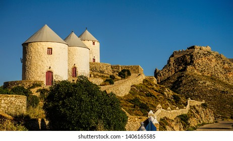 the way to the sumit, with the windmills and the castle of Leros island