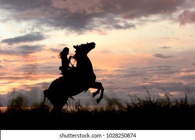 Way to the top, leader and freedom concept. Happy girl riding horse. Arabian stallion stallion stands on hind legs, rearing up to clouds. Equine and girls silhouette on peak with cloudy sky.