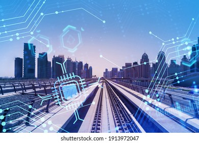 The way towards skyscrapers by modern futuristic train. Tech railway delivers commuters to the financial downtown of Dubai. Transportation tech railroad concept. Double exposure