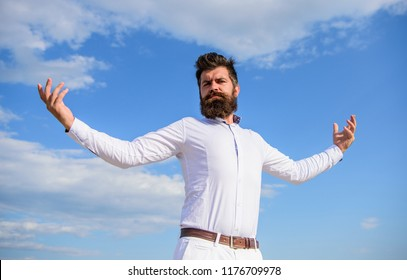 Way to understand narcissistic male. Self proud and narcissistic. Hipster bearded looks attractive. Guy enjoy top achievement. Man bearded feels proud himself sky background. Superiority and power.