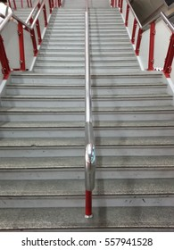 Way to work of stairway up way to go in public mass subway transit