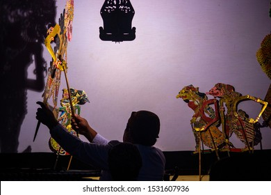 wayang kulit or shadow puppets from Java, Indonesia puppet show by dalang or puppeteer . Wayang made from leather
