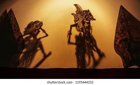 Wayang kulit, shadow puppets show javanese indonesia