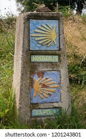 Waymark along the Camino Primitivo, Spain, Europe