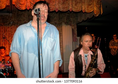 Wayne, NJ/USA - February 10, 2006: Singer Southside Johnny and saxophonist Joey Stann perform with the Asbury Jukes at a benefit concert in New Jersey.