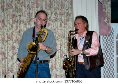 Wayne, NJ/USA - February 10, 2006: Saxophonists Ed Manion and Joey Stann of the Miami Horns perform with Southside Johnny and the Asbury Jukes at a benefit concert in New Jersey.