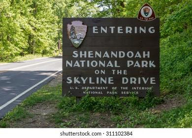 Waynesboro, VA, United States- May 22, 2015. The welcome sign at the south entrance to Shenandoah National Park