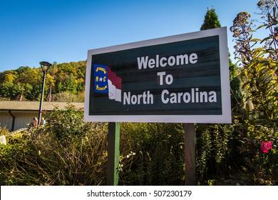 Waynesville, North Carolina, USA - October 24, 2016:  Welcome sign at the North Carolina visitors center in Waynesville, North Carolina.