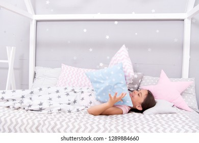 Ways to fall asleep faster. Fall asleep as fast as possible. Fall asleep faster and sleep better. Healthy sleep. Sweet dreams. Girl happy child lay bed pillow and blanket bedroom. Lullaby concept.
