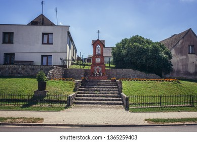 """Wayside chapel in Waglikowice, small village in Kashubia region, Poland, the sign on the shrine means """"Sacred heart of Jesus - have mercy on us"""""""