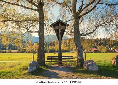 wayside cross and wooden bench, pilgrimage place upper bavaria, between autumnal  birch trees