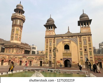 Wazir Khan Mosque, Lahore, Pakistan - 28th January 2018: Conceptual image of architecture of famous Wazir Khan mosque in the walled city of Lahore, Pakistan.