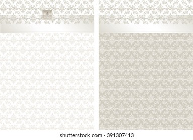 WB_Brocade_Ecru_Set1_Vector brocade pattern in taupes with contrasting back design. Satin ribbon and embossed emblem