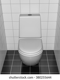 A WC in the lavatory. A 3D interior