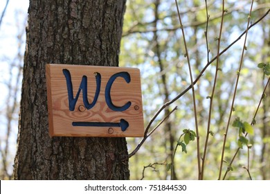 A WC sign with a direction indicator in a forest