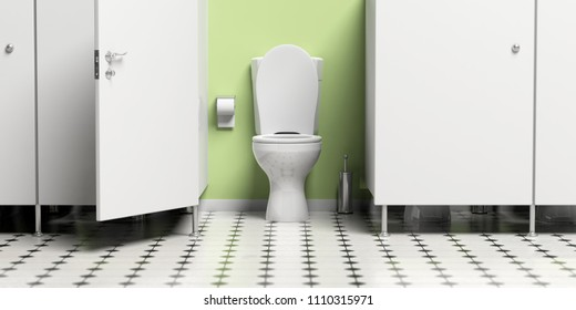 WC. Water closet with open door and white toilet bowl. 3d illustration