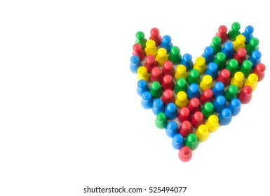 We Are All One. Unit and Concord in Multiethnic. Colorful Heart Shaped Dummies Isolated on White Background.