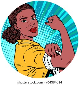 we can do it black woman African American pop art avatar character round icon. retro  illustration