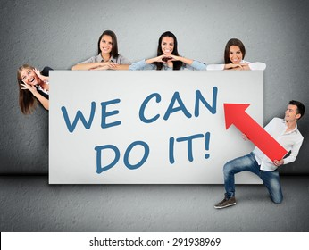 We can do it word writing on white banner