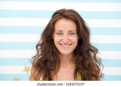 If we can t do it, no one can. happy woman with wavy hair in hairdresser salon. happy woman has long wavy hairstyle. natural cosmetics for hair. You deserve nothing but the best.