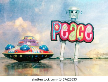 we come in pease retro robot and UFO  toys on a wooden floor