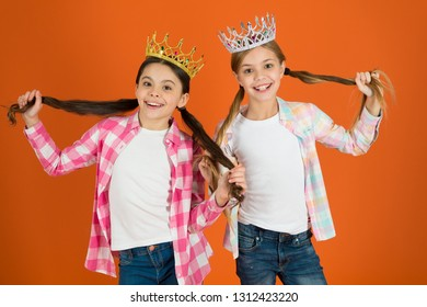 We deserve only best. Girls wear crowns. Spoiled children concept. Egocentric princess. Kids wear golden crowns symbol princess. Every girl dreaming become princess. Little princess. Happy childhood.