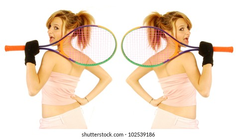 We do a game of double - A young girl with her tennis racket