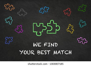 """""""We find your best match"""" text with puzzle pieces on a chalkboard"""