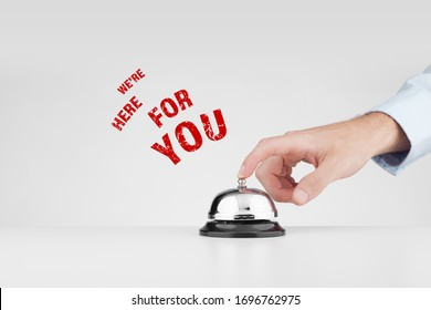 We are here for you marketing advertisement concept. Customer care and positive pro-customer experience concept.