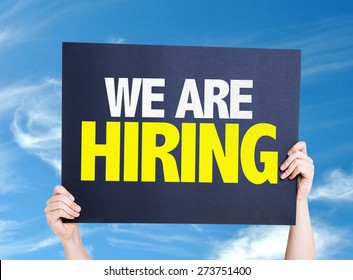 We Are Hiring card with sky background