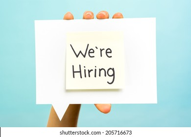 We are hiring message concept on speech bubble