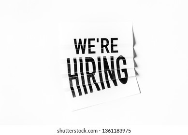 We are hiring text on paper folding poster with white background