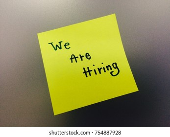 We are hiring writing on notepad. business concept