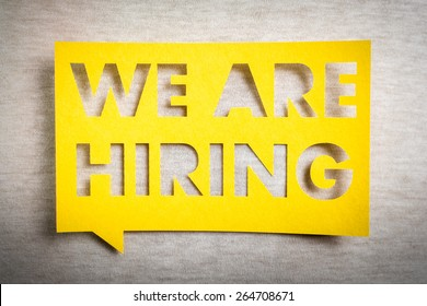"""We are hiring"" yellow banner on white texture background. Job board design, template."