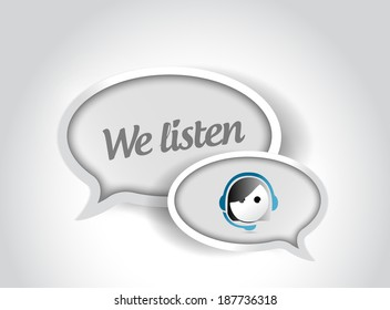 we listen customer support bubble illustration design over a white background