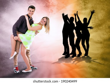 We love to dance all time. Dancing teen couple on bright grunge background