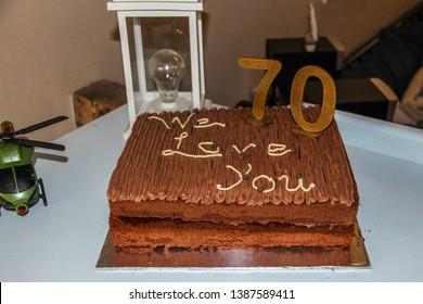 We Love You 70 Year Old Chocolate Birthday Cake